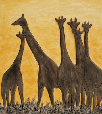 Kaolin Pottery tote textiles,fabric,clothes,tops,,pillow,handbags,giraffe sunset