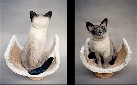 Kaolin Pottery in Gt. Barrington,Ma clay sculpture siamese cat on perch, 2 views